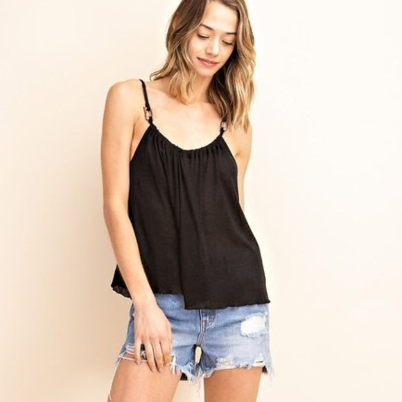 mittoshop Tops - Wood Buckled Detail Camisole Knit Top